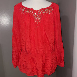 Charter Club Woman Red Sequined Top 1x